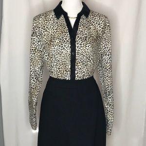 Chico's Size 3 No Iron Shirt Leopard Print